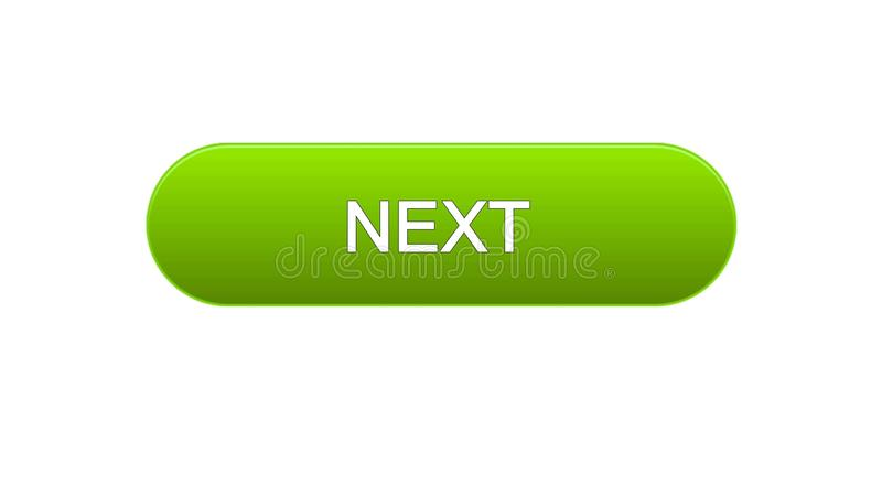 Next web interface button green color, internet site design, online program. Stock footage royalty free illustration