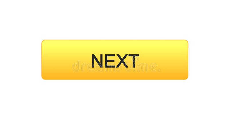 Next web interface button orange color, internet site design, online program. Stock footage royalty free illustration