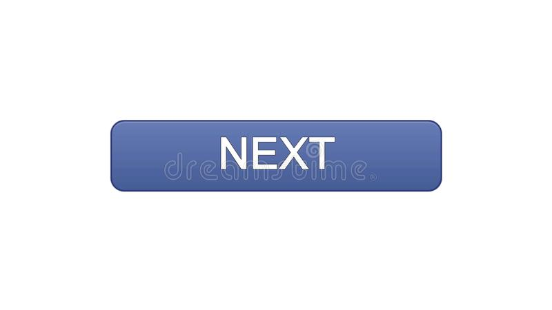 Next web interface button violet color, internet site design, online program. Stock footage vector illustration