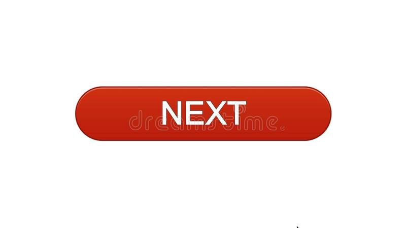 Next web interface button wine red color, internet site design, online program. Stock footage royalty free illustration