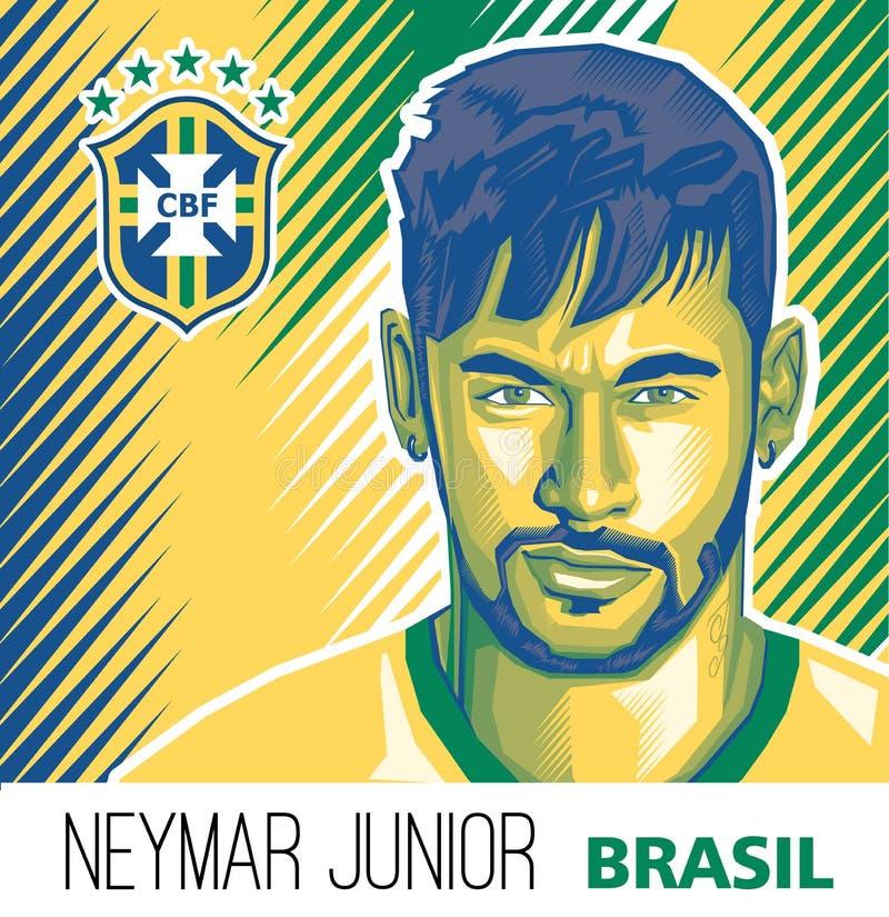 Neymar jr Brazylijska gwiazda piłki ilustracji
