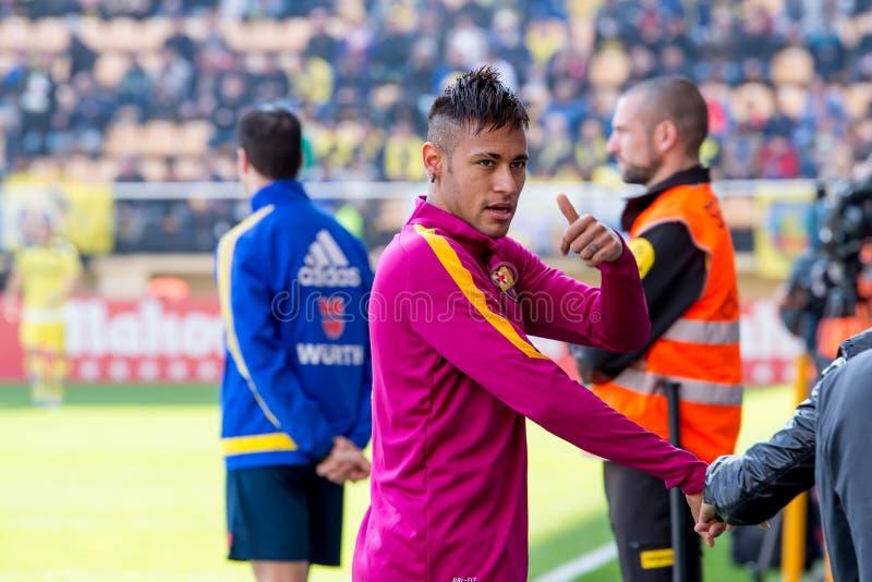 Neymar warms up prior to the La Liga match between Villarreal CF and FC Barcelona at El Madrigal Stadium. VILLARREAL, SPAIN - MAR 20: Neymar warms up prior to royalty free stock photo
