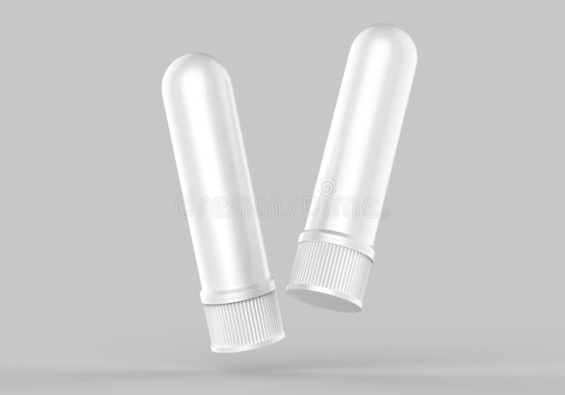 Nez de médecine, inhalateur nasal ou baisses pour la santé dans la bouteille blanche, récipient pour le froid, grippe, maladie Ph illustration de vecteur