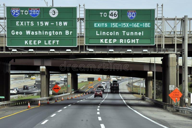 Nezr da rota 95 a saída para Lincoln Tunnel fotografia de stock