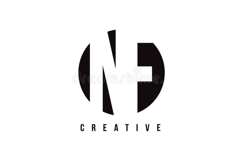 NF N F白色信件商标设计有圈子背景 向量例证