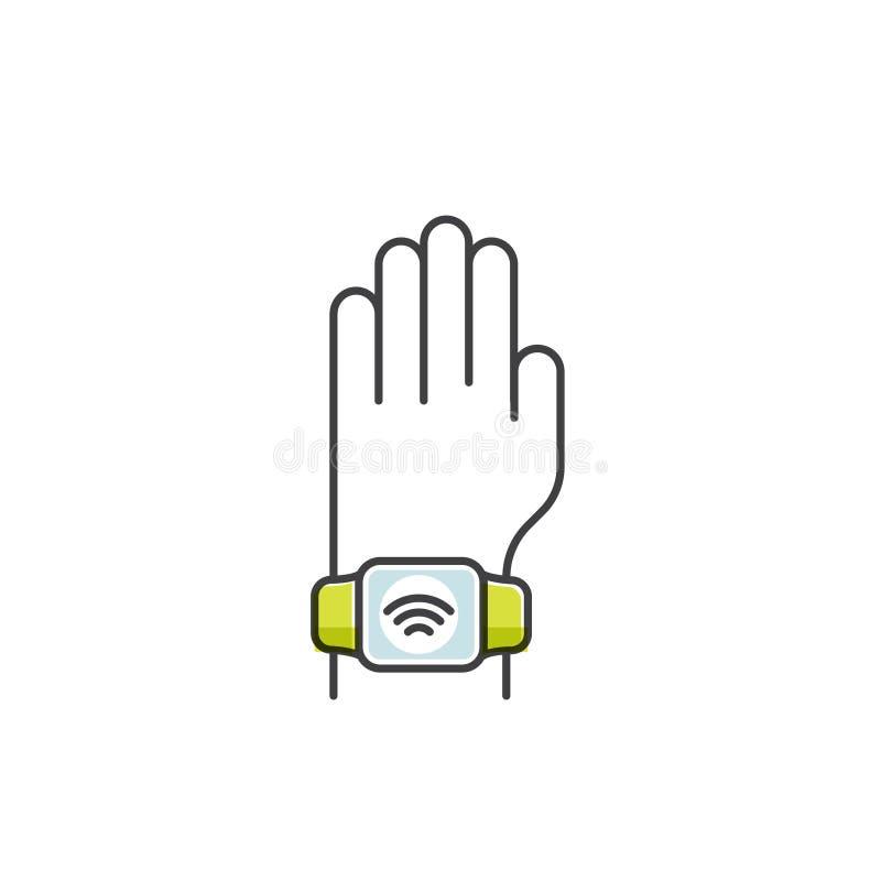 NFC-betalning som göras till och med klockan Bärande armband för hand Lön eller framställning av ett köp contactless eller trådlö stock illustrationer