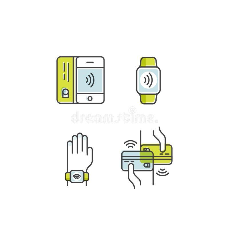 NFC-betalning som göras till och med klockan Bärande armband för hand Mobil lön eller framställning av ett köp contactless eller  stock illustrationer