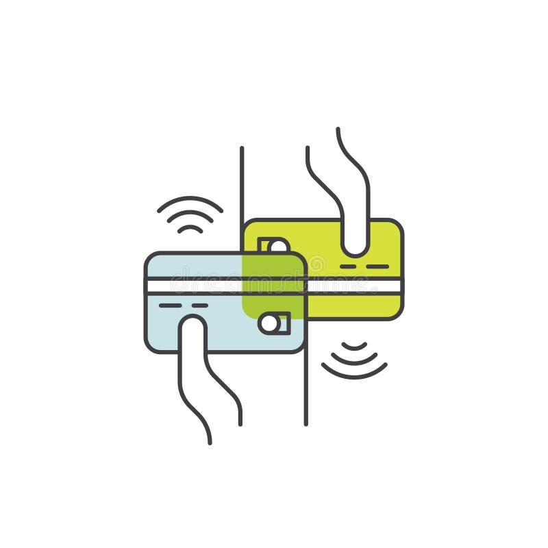 NFC-betalning som göras till och med klockan Hållande chipkort för hand Lön eller framställning av ett köp contactless eller tråd stock illustrationer