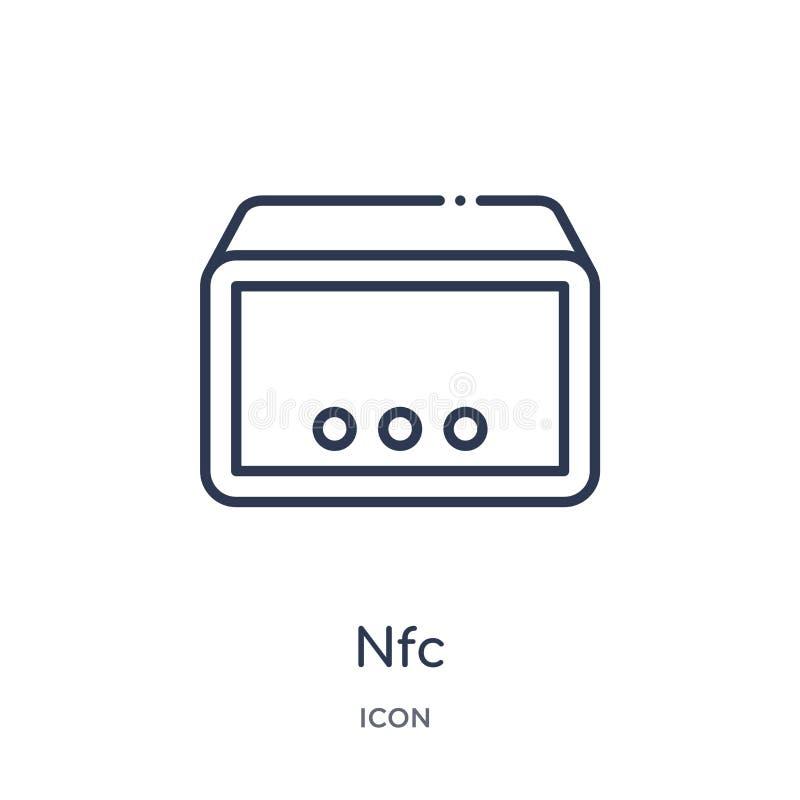 Nfc ikona od muzyki i środki zarysowywamy kolekcję Cienieje kreskową nfc ikonę odizolowywającą na białym tle royalty ilustracja