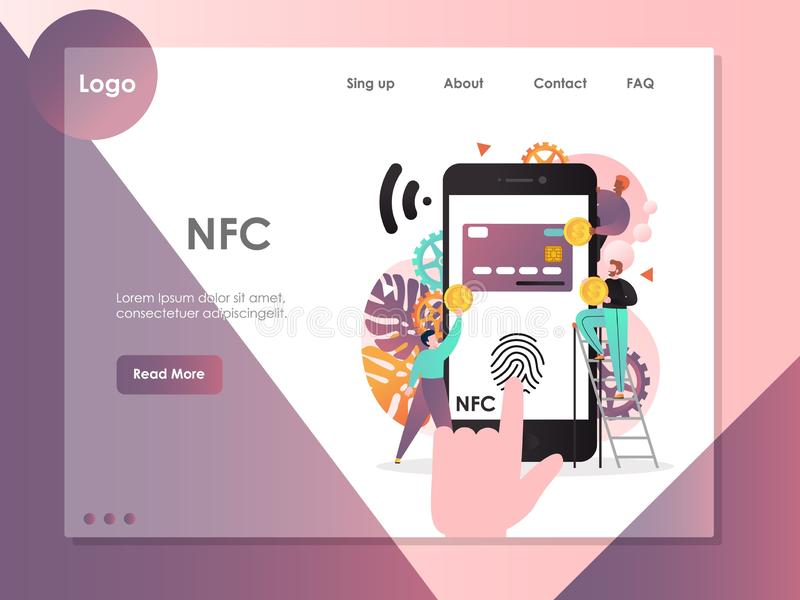 NFC strony internetowej lądowania strony projekta wektorowy szablon obrazy royalty free