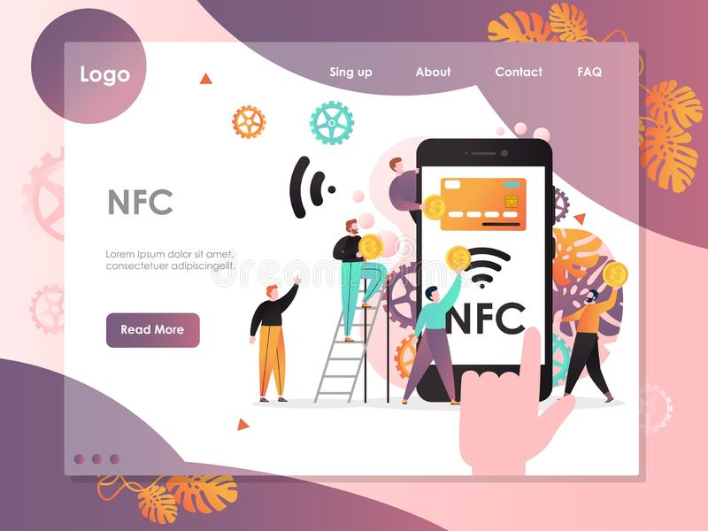 NFC strony internetowej lądowania strony projekta wektorowy szablon zdjęcia stock