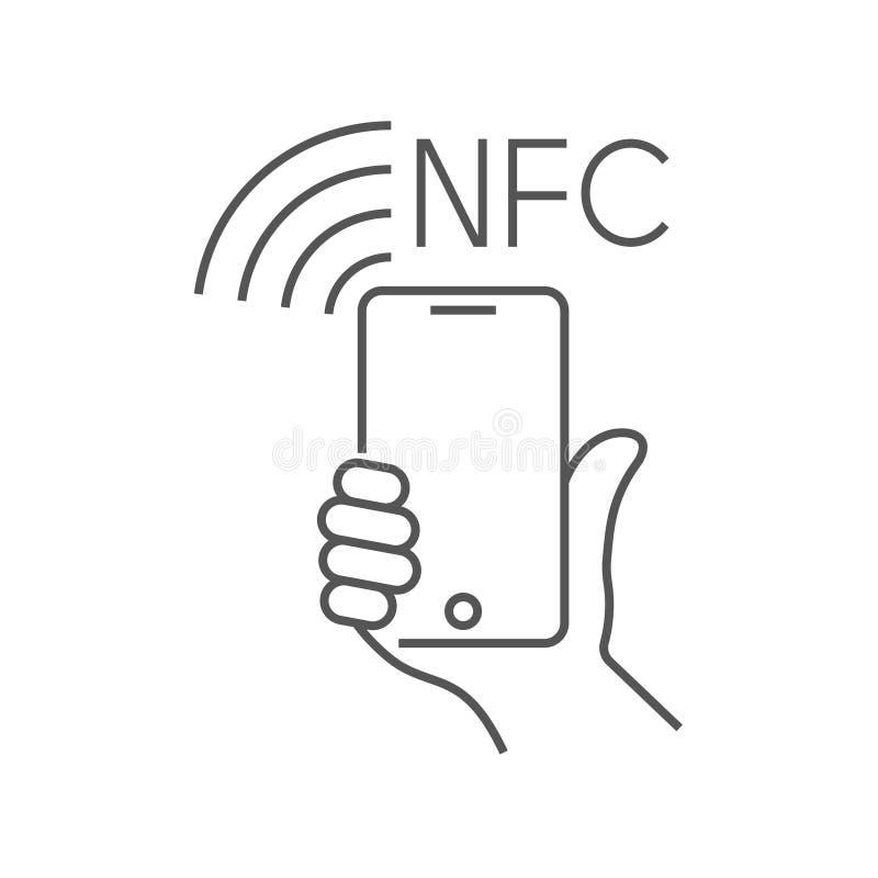 NFC-technologiebetaling, vectorounlinepictogram Hand en smartphone Contacless, draadloze betaling met krediet plastic kaart stock illustratie