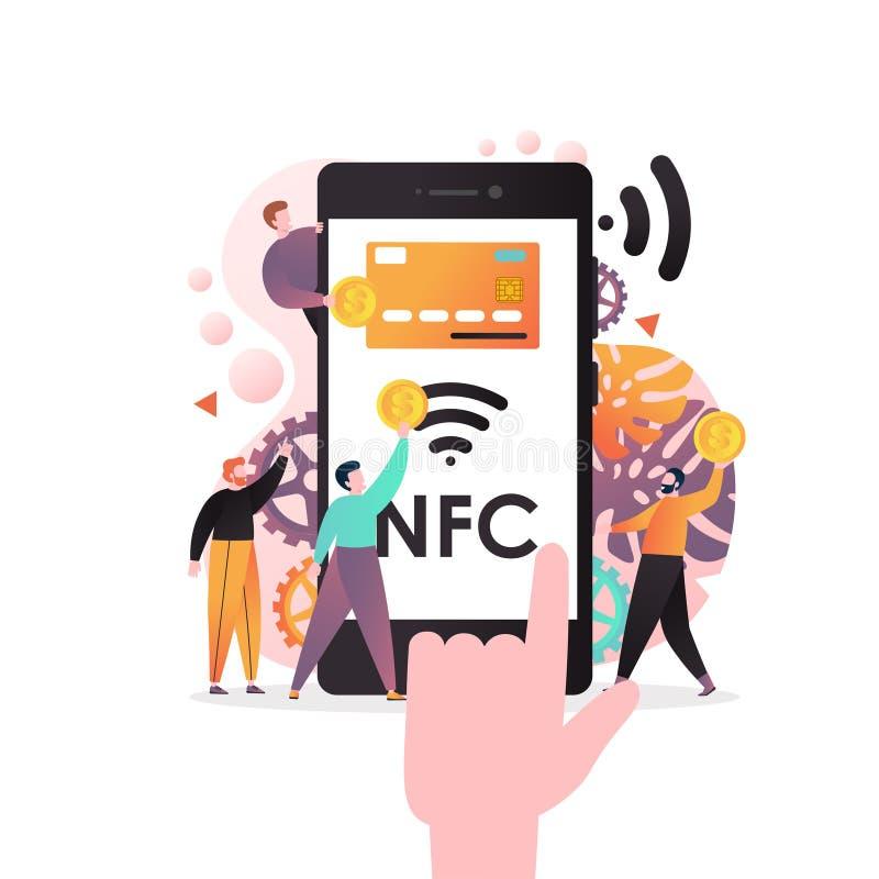 NFC technologii wektorowy pojęcie dla sieć sztandaru, strony internetowej strona zdjęcie stock