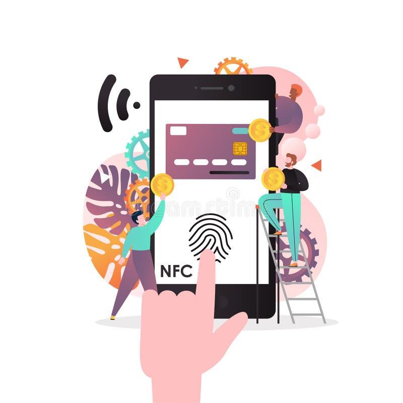 NFC technologii wektorowy pojęcie dla sieć sztandaru, strony internetowej strona fotografia stock