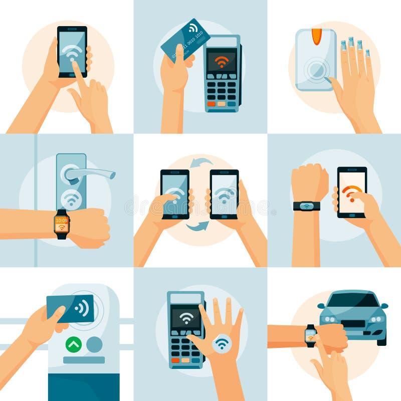 NFC Technology Flat Style Concept vector illustration