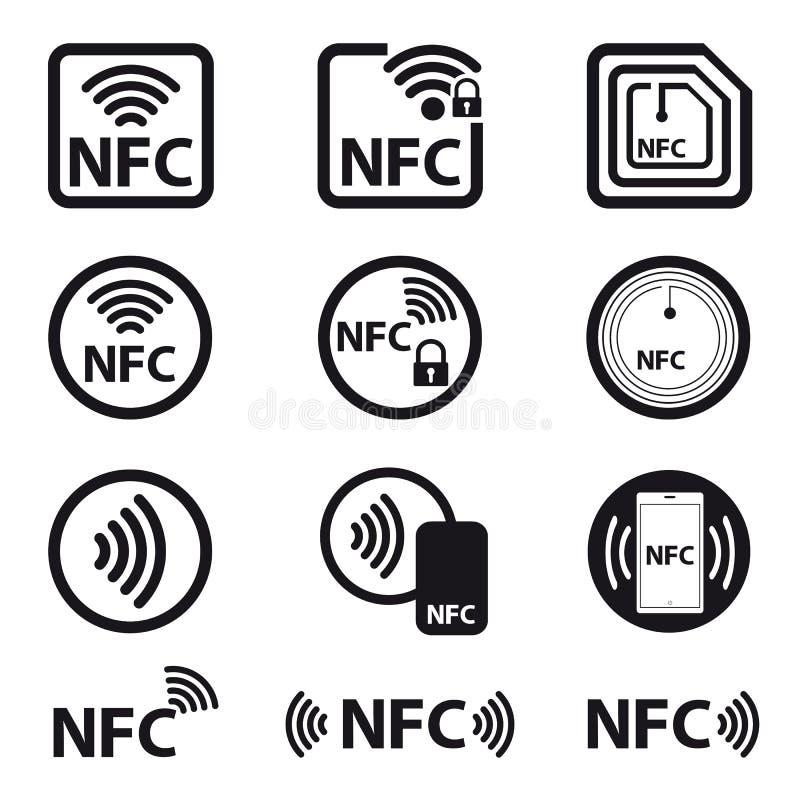 NFC-teknologi - symbol ställ in - vektorillustration - som isoleras på vit bakgrund royaltyfri illustrationer