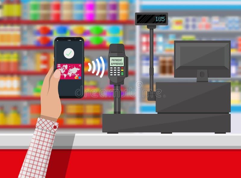 Nfcbetaling in supermarkt royalty-vrije illustratie