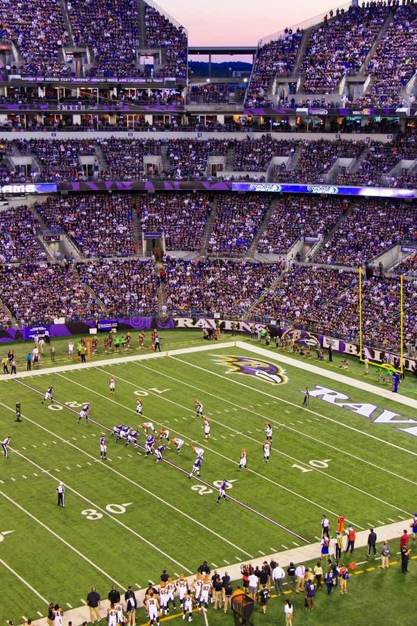 NFL星期一晚上橄榄球在红色区域 免版税库存图片