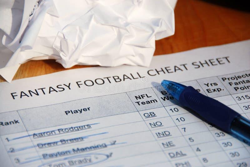 NFL fantasy football draft cheat sheet stock image