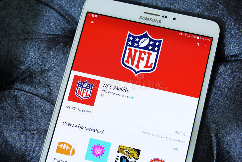 Nfl-mobil app arkivfoton