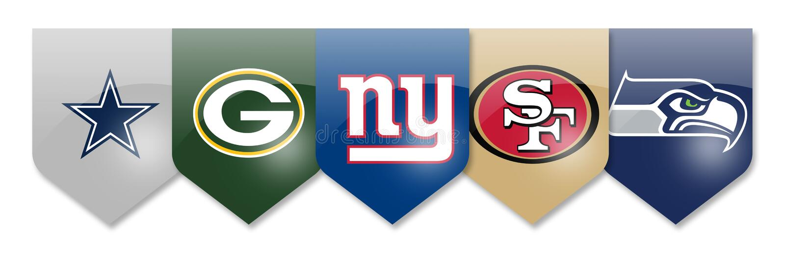 Nfl teams on white. Nfl teams,cowboys,packers,giants,49ers and seahawks