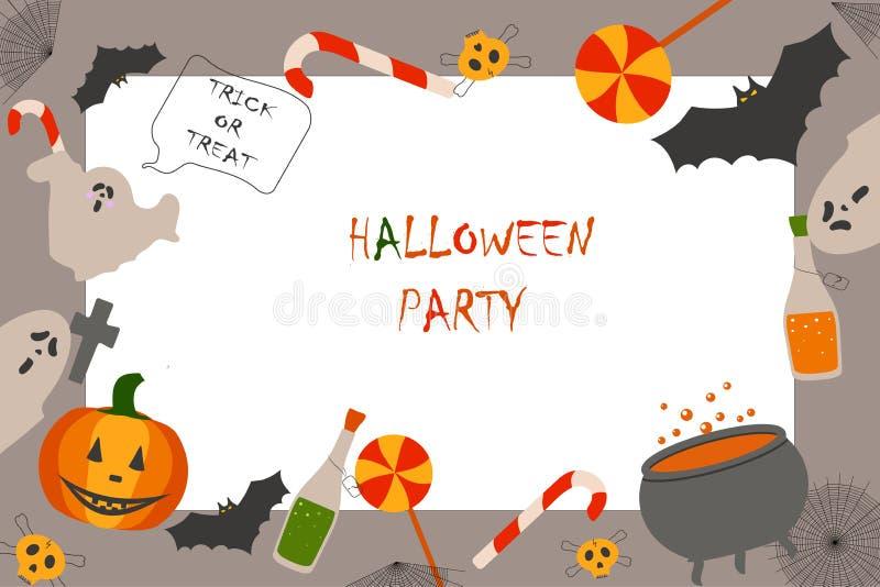Invitation to the party Halloween. Pumpkin, bottle, skull, cross, sweets, bat, cauldron vector illustration