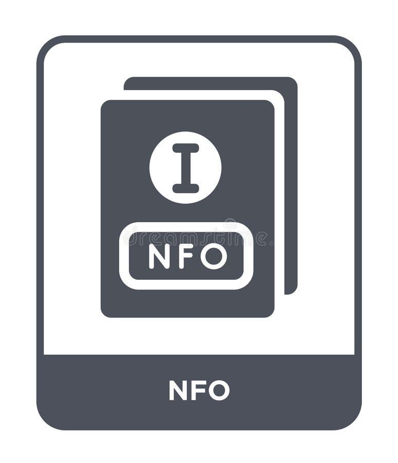 nfo Ikone in der modischen Entwurfsart nfo Ikone lokalisiert auf weißem Hintergrund einfaches und modernes flaches Symbol der nfo vektor abbildung