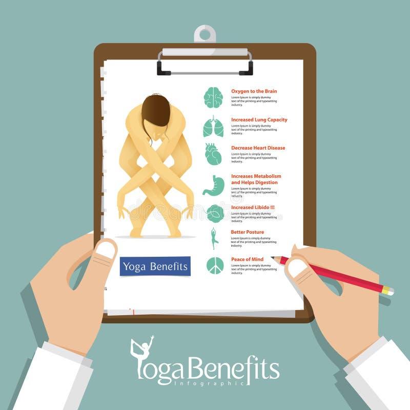 Nfographic für Yoga-Haltungen und Yoga fördert im flachen Design mit Satz Organikonen, Klemmbrett in Doktorhand stock abbildung