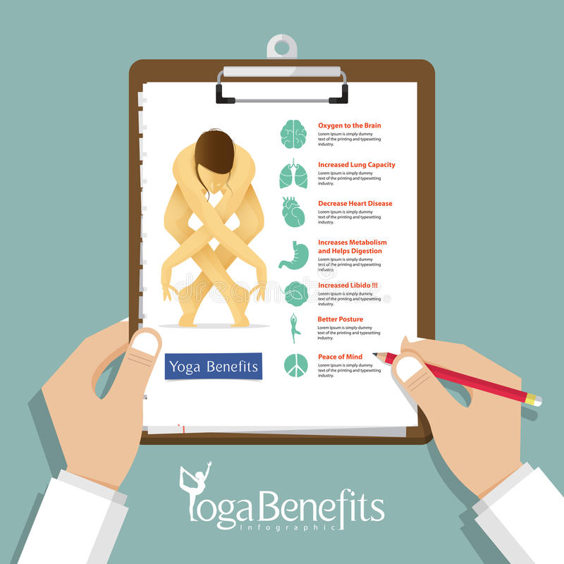 Nfographic for Yoga Poses and Yoga Benefits in flat design with set of organ icons, Clipboard in doctor hand. stock illustration