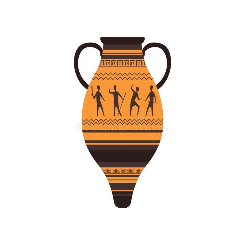 Ânfora antiga com ilustração romana tradicional do vetor do ornamento em um fundo branco ilustração do vetor