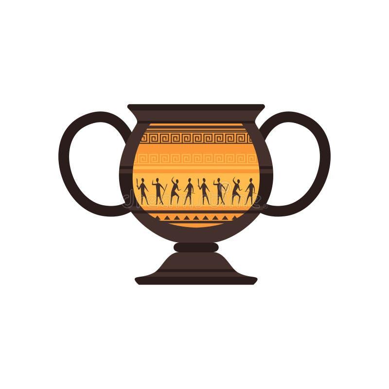 Ânfora cerâmica antiga com ilustração romana tradicional do vetor do ornamento em um fundo branco ilustração royalty free