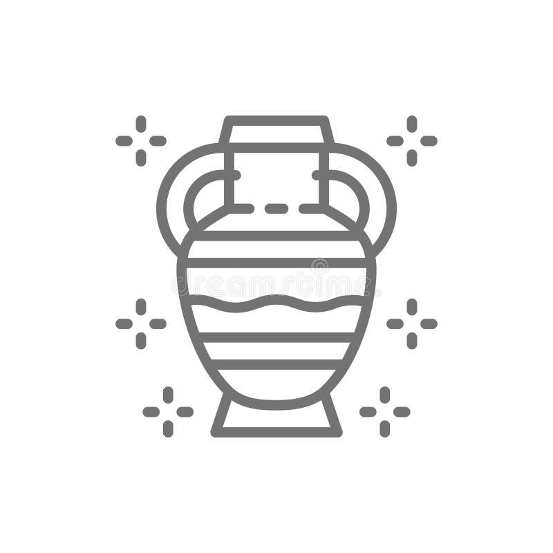 Ânforas, cerâmica do grego clássico, linha primitiva ícone do jarro da argila ilustração stock