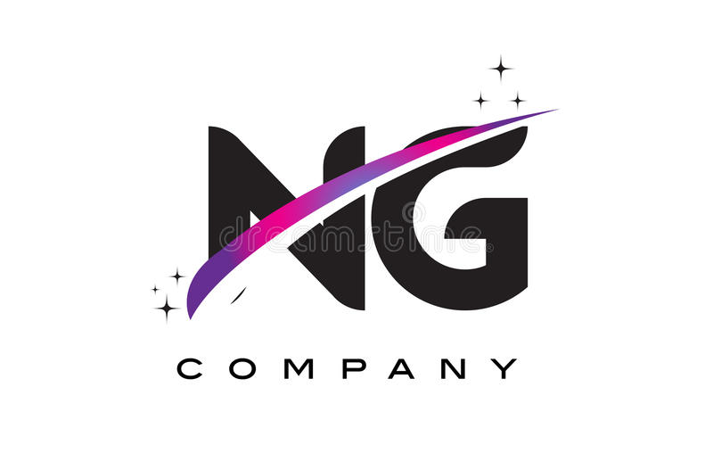NG N G Black Letter Logo Design with Purple Magenta Swoosh. And Stars vector illustration