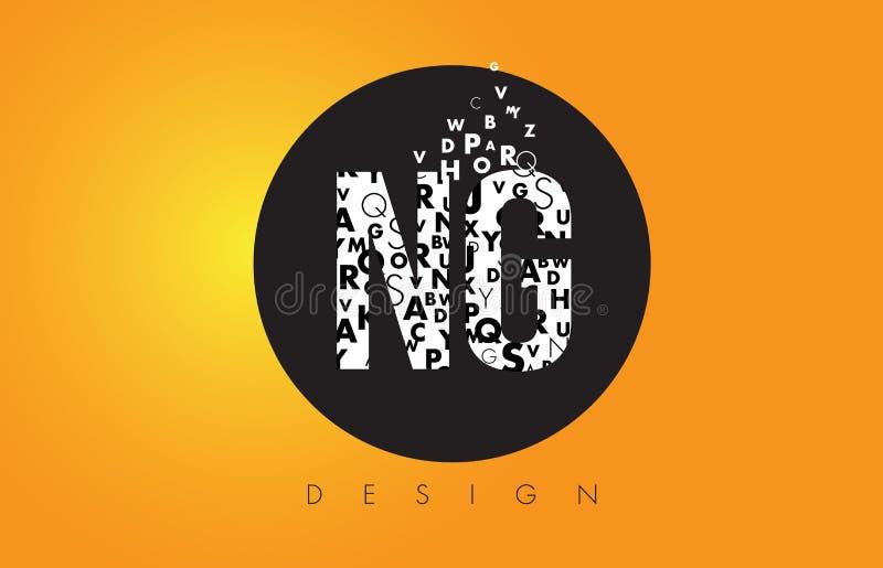 NG N G Logo Made de pequeñas letras con el círculo negro y B amarillo libre illustration