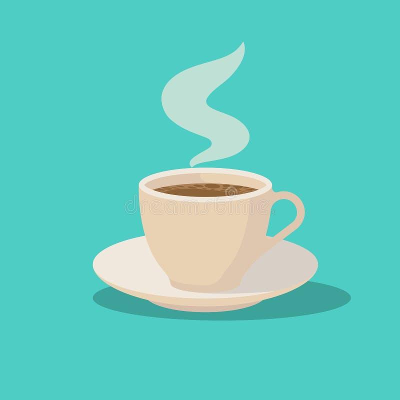 ?nga f?r kaffekopp Nytt varmt kaffe på försilvrar uppläggningsfatet vektor illustrationer