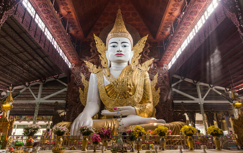 Nga Htat Gyi Pagoda, also known as the five-storey Buddha is located across the Chauk Htat Gyi Buddha Image in Yangon. Nga Htat Gyi Pagoda, also known as the stock photography