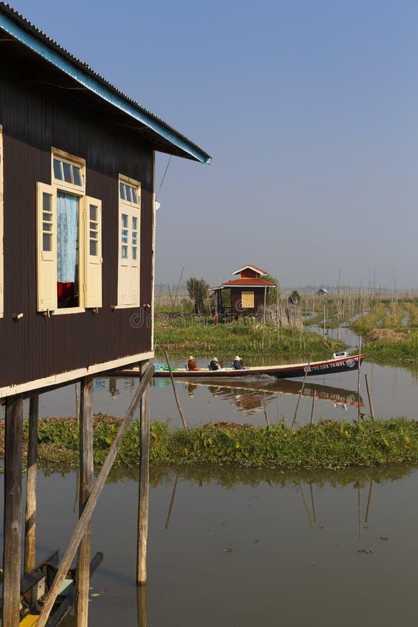 Nga Phe Chaunt修道院- Inle湖缅甸 库存图片