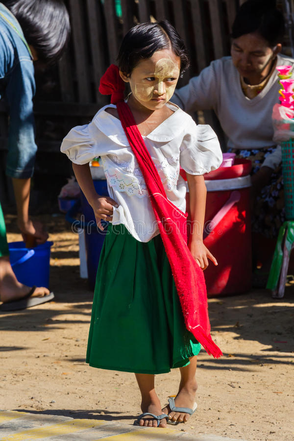 NGAPALI BEACH, MYANMAR - December 3, 2014: an unidentified child stock image