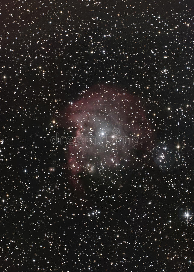 NGC2174 aka Monkey Head Nebula. HII emission nebula in the Orion constellation at 6400 light years from us royalty free stock photo