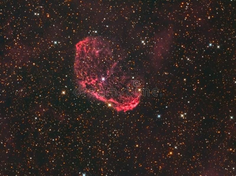 "NGC 6888 ""Crescent Nebula"" in Cygnus. The Crescent Nebula (NGC 6888, Caldwell 27, Sharpless 105) is an emission nebula in the constellation Cygnus stock photos"
