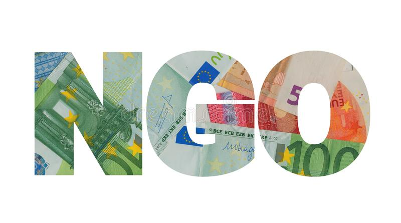 NGO money and funding. NGO and money. Non-governmental organizations and their budget - funding, fundraising, subsidies, donation royalty free stock photo