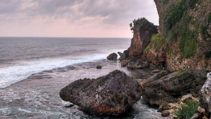 Ngobaran海滩 免版税库存图片