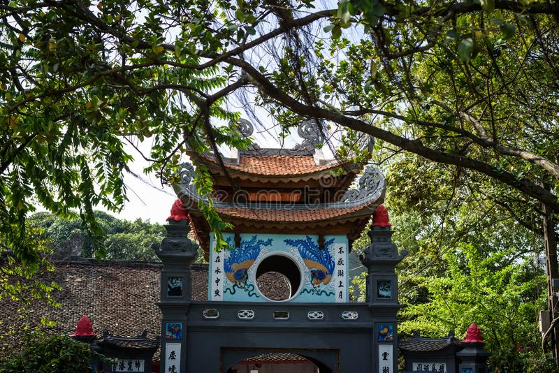 Ngoc Son temple on Hoan Kiem lake, Hanoi, Vietnam. Entrance to The Temple of the Jade Mountain is on Hoan Kiem Lake in Hanoi, Vietnam stock images