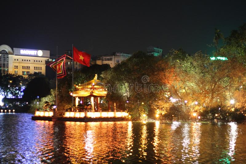 Ngoc sontempel, Hanoi, Vietnam arkivfoton