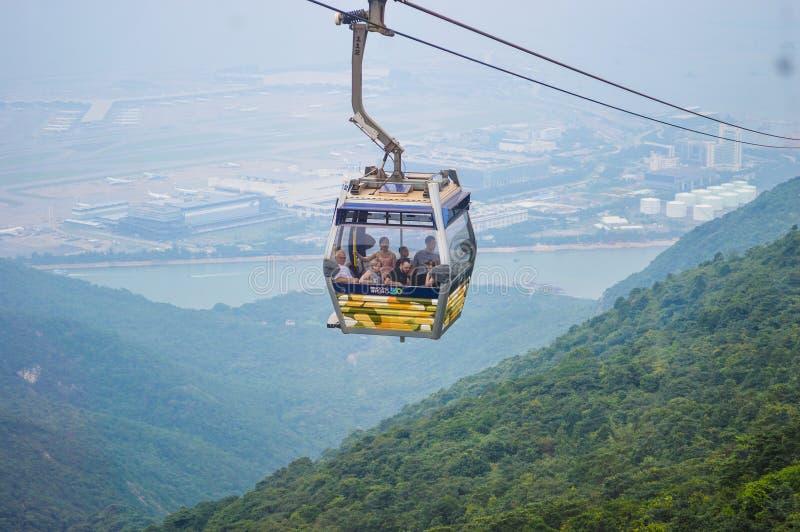 Ngong Ping Cable Car royaltyfria bilder