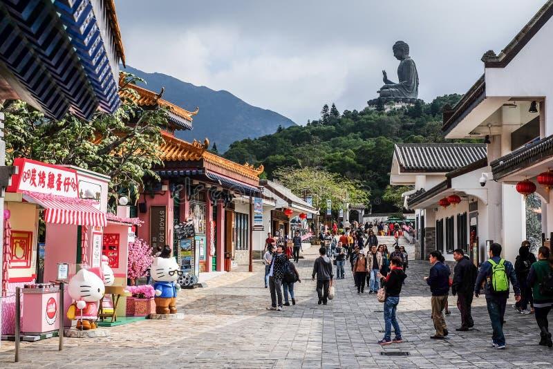 Ngong Ping Village und Tian Tan Buddha, Hong Kong lizenzfreie stockbilder