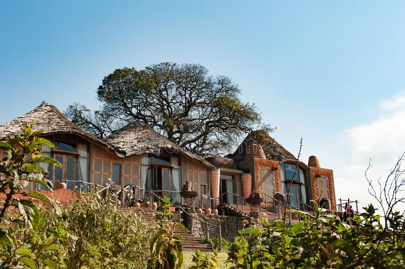 Ngorongoro火山口小屋,坦桑尼亚非洲 Ngorongoro火山口的著名小屋 免版税库存图片