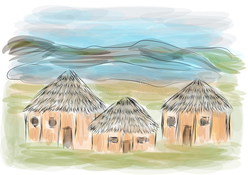 Ngorongoro crater. With ethnic house vector illustration