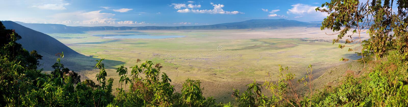 Ngorongoro krater i Tanzania, Afrika. Panorama royaltyfria foton