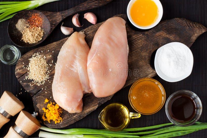 Ngredients dla kurczaka w pomarańczowym kumberlandzie obraz stock